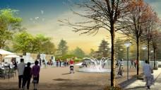 喷泉广场景观设计效果图