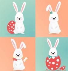 四只复活节卡通兔子