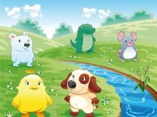 矢量卡通动物风景
