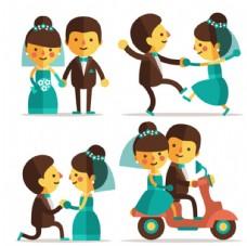 扁平化卡通婚礼夫妇元素