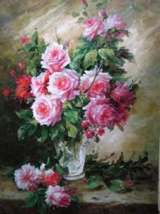 静物鲜花油画图片