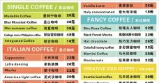 咖啡价目表