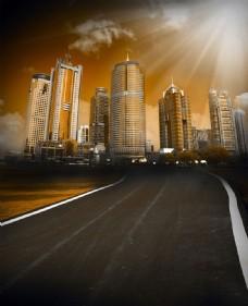 黄昏时的城市风光创意图片