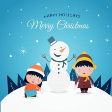 卡通儿童节快乐堆雪人的孩子