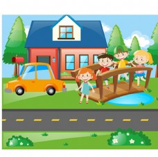 儿童节快乐过小木桥的孩子