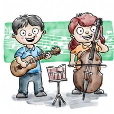 手绘水彩学音乐的孩子