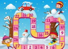 圣诞节孩子游戏棋盘