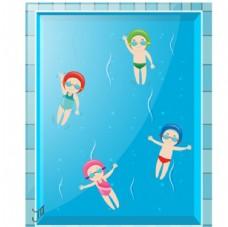 卡通儿童节在泳池游泳的孩子