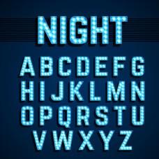 26个蓝色霓虹灯字母矢量素材