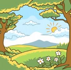 手绘春天森林风景插图