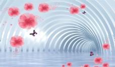 3D水中玫瑰背景墻