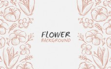 手繪素描春季花卉背景