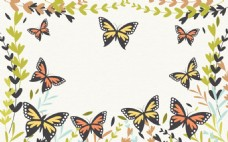 春季蝴蝶花草海报背景