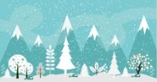 冬季雪景扁平插画