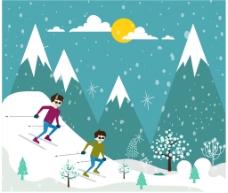 冬季滑雪插画