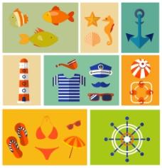 度假海边图标集合