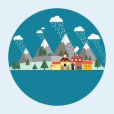 冬季下雪村庄插画