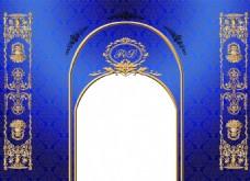 欧式蓝金拱门签到台欧式花纹背景