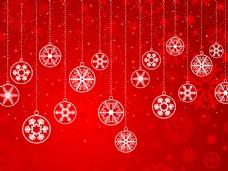 白色的圣诞装饰品挂在红色的背景