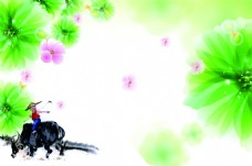 牧童花朵水彩效果背景