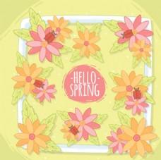 手绘春季花卉花朵框架