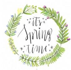 手绘水彩春季花草花环