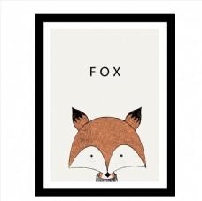 卡通狐狸头像挂画矢量素材