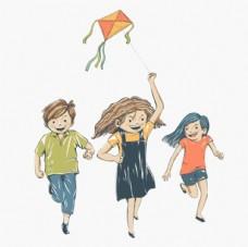 彩绘儿童节放风筝的孩子